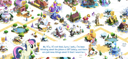 Size: 2436x1125 | Tagged: safe, bon bon, starlight glimmer, sweetie drops, tree of harmony, bugbear, earth pony, pony, the last problem, apple, apple tree, carousel boutique, cart, flag, game screencap, gameloft, gem, globe, gramophone, magic mirror, pond, ponyville, snow, statue, super speedy cider squeezy 6000, train, tree, twilight's castle, windmill
