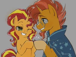 Size: 750x566 | Tagged: safe, artist:5mmumm5, sunburst, sunset shimmer, pony, unicorn, cape, clothes, cute, female, glasses, gray background, grin, hoofbump, looking at each other, male, mare, one eye closed, simple background, smiling, stallion, sunny siblings, wink