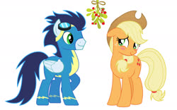 Size: 1890x1181 | Tagged: safe, artist:baumkuchenpony, artist:emberfiremane, editor:secrettitan, applejack, soarin', blushing, clothes, mistleholly, mistletoe meme, shipping, simple background, soarinjack, straight, uniform, vector, white background, wonderbolts
