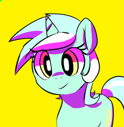 Size: 971x995 | Tagged: safe, artist:mewball, lyra heartstrings, pony, unicorn, cute, female, lyrabetes, mare, simple background, solo, yellow background