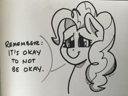 Size: 2048x1536 | Tagged: safe, artist:cadetredshirt, pinkie pie, earth pony, pony, bust, ear fluff, heartwarming, ink drawing, looking at you, sad eyes, smiling, solo, text, traditional art