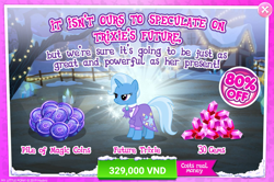 Size: 1554x1030 | Tagged: safe, trixie, pony, unicorn, the last problem, spoiler:s09e26, advertisement, clothes, coin, costs real money, crack is cheaper, female, gameloft, gem, magic coins, mare, official, older, older trixie, solo