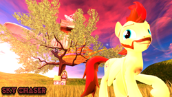 Size: 1920x1080 | Tagged: safe, artist:sky chaser, oc, oc only, oc:sky chaser, pegasus, pony, 3d, beard, facial hair, solo, source filmmaker, tree, treehouse