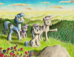 Size: 3300x2550 | Tagged: safe, artist:jac59col, night light, shining armor, twilight sparkle, twilight velvet, pony, unicorn, brother and sister, father and child, father and daughter, father and son, female, filly, filly twilight sparkle, hiking, husband and wife, male, mare, mother and child, mother and daughter, mother and son, pointing, siblings, stallion, teenager, traditional art, unicorn twilight, younger