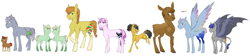 Size: 7781x1741 | Tagged: safe, artist:phobicalbino, oc, oc only, oc:dust storm, oc:gingergold, oc:granite harrison rock, oc:hay bale, oc:hazelnut, oc:jonagold jam, oc:night glimmer, oc:panini patricia pie, oc:recherché, oc:thunder tantrum, bat pony, earth pony, moose, pegasus, unicorn, adopted offspring, braces, braid, braided tail, calf, colored wings, colored wingtips, colt, dawn pony, female, filly, foal, glasses, large cutie mark, leonine tail, line-up, male, mare, next generation, offspring, parent:applejack, parent:big macintosh, parent:cheese sandwich, parent:fancypants, parent:fluttershy, parent:oc:daredevil, parent:oc:rain buck, parent:pinkie pie, parent:pokey pierce, parent:rainbow dash, parent:rarity, parent:twilight sparkle, parents:canon x oc, parents:cheesepie, parents:fluttermac, parents:pokeypie, parents:raripants, raised hoof, short mane, short tail, simple background, socks (coat marking), spread wings, stallion, twins, white background, wing claws, wings