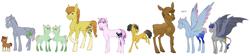 Size: 7781x1741 | Tagged: safe, artist:phobicalbino, oc, oc only, oc:dust storm, oc:gingergold, oc:granite harrison rock, oc:hay bale, oc:hazelnut, oc:jonagold jam, oc:night glimmer, oc:panini patricia pie, oc:recherché, oc:thunder tantrum, bat pony, earth pony, moose, pegasus, unicorn, adopted offspring, braces, braid, braided tail, calf, coat markings, colored wings, colored wingtips, colt, dawn pony, female, filly, foal, glasses, large cutie mark, leonine tail, line-up, male, mare, next generation, offspring, parent:applejack, parent:big macintosh, parent:cheese sandwich, parent:fancypants, parent:fluttershy, parent:oc:daredevil, parent:oc:rain buck, parent:pinkie pie, parent:pokey pierce, parent:rainbow dash, parent:rarity, parent:twilight sparkle, parents:canon x oc, parents:cheesepie, parents:fluttermac, parents:pokeypie, parents:raripants, raised hoof, short mane, short tail, simple background, socks (coat markings), spread wings, stallion, twins, white background, wing claws, wings