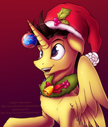 Size: 3410x4000 | Tagged: safe, artist:jamestoneda, oc, oc:tommy the human, alicorn, pony, adorable face, alicorn oc, australia, australian flag, christmas, christmas ornament, christmas wreath, commissioner:bigonionbean, cute, decoration, hat, holiday, holly, male, santa hat, stallion, wreath, writer:bigonionbean