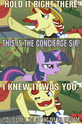 Size: 637x962 | Tagged: safe, edit, edited screencap, editor:undeadponysoldier, screencap, flam, twilight sparkle, pony, unicorn, applebuck season, apple, apple tree, caption, concierge, facial hair, female, home alone, home alone 2: lost in new york, image macro, male, mare, meme, moustache, reference, stallion, sweet apple acres, text, tree, unicorn twilight
