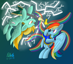 Size: 2500x2200 | Tagged: safe, artist:notadeliciouspotato, lightning dust, rainbow dash, pegasus, pony, abstract background, duo, electric guitar, female, flying, guitar, lightning, mare, musical instrument, rainbow, smiling, spread wings, wings