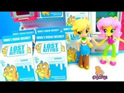 Size: 450x337 | Tagged: safe, applejack, fluttershy, cat, equestria girls, animal, doll, female, hasbro, lost kitties, my toys pink, shop, toy