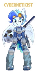 Size: 1089x2127 | Tagged: safe, oc, oc:raindrop, anthro, pegasus, fallout equestria, ahoge, armor, bipedal, blue eyes, blue mane, commissioner:genki, fallout, fallout 4, fallout equestria: kingpin, female, goggles, gun, handgun, helmet, mare, pistol, rifle, sniper, sniper rifle, solo, stun gun, the mechanist, weapon, young mare