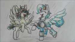 Size: 1920x1080   Tagged: safe, oc, oc only, oc:raindrop, pegasus, pony, fallout equestria, ahoge, armor, blue eyes, blue mane, collaboration, cutie mark, fallout, fallout 4, fallout equestria: kingpin, female, happy, mare, pegasus oc, playing, rain, reference sheet, solo, the mechanist, traditional art, young mare