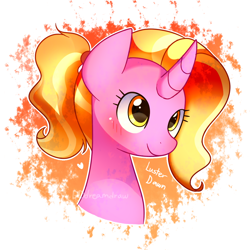 Size: 1000x1000 | Tagged: safe, artist:dddreamdraw, luster dawn, pony, unicorn, the last problem, spoiler:s09e26, abstract background, blushing, bust, cute, lusterbetes, portrait, signature, smiling, solo