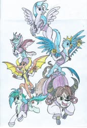 Size: 1024x1499 | Tagged: safe, artist:triforce-treasure, gallus, ocellus, sandbar, silverstream, smolder, yona, changedling, changeling, classical hippogriff, dragon, earth pony, griffon, hippogriff, pony, yak, backpack, clothes, jewelry, necklace, older, student six, sweater