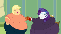 Size: 2560x1440 | Tagged: safe, artist:neongothic, applejack, rarity, equestria girls, amplejack, applefat, bbw, belly, big belly, big breasts, bingo wings, breasts, busty applejack, busty rarity, cheers, chocolate, chubby cheeks, cider, double chin, eyes closed, fat, food, grin, hot chocolate, huge ass, huge belly, large ass, marshmallow, morbidly obese, mug, obese, open mouth, raritubby, smiling, ssbbw, story included, weight gain