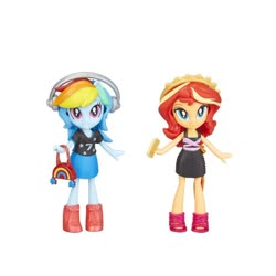 Size: 1000x1000 | Tagged: safe, rainbow dash, sunset shimmer, equestria girls, bag, boots, doll, equestria girls minis, fashion squad, female, gold, headphones, minis, shoes, toy
