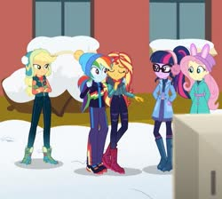 Size: 870x778 | Tagged: safe, edit, screencap, applejack, fluttershy, rainbow dash, sci-twi, sunset shimmer, twilight sparkle, equestria girls, equestria girls series, holidays unwrapped, spoiler:eqg series (season 2), blizzard or bust, clothes, earmuffs, eyes closed, female, glasses, school, snow, winter, winter outfit