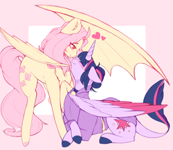 Size: 1280x1109 | Tagged: safe, artist:coonyloony, fluttershy, twilight sparkle, alicorn, bat pony, pony, vampire, vampony, abstract background, alternate hairstyle, alternate universe, bat ponified, blushing, boop, chest fluff, clothes, colored hooves, colored wings, crossed hooves, cutie mark, eye clipping through hair, eyes closed, female, flutterbat, hair bun, heart, leonine tail, lesbian, lidded eyes, long tail, mare, noseboop, one wing out, prone, race swap, raised hoof, request, shipping, smiling, sweater, sweatshirt, twilight sparkle (alicorn), twishy, vampire hunter, wings