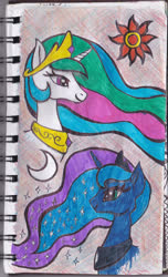 Size: 1276x2096 | Tagged: safe, artist:feuerrader-nmm, princess celestia, princess luna, pony, bust, portrait, traditional art