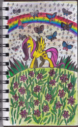 Size: 1268x2075 | Tagged: safe, artist:feuerrader-nmm, fluttershy, butterfly, pony, flower, rainbow, solo, traditional art