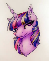 Size: 720x899 | Tagged: safe, artist:cloud-dash, artist:vera-li, twilight sparkle, pony, bust, chest fluff, ear fluff, eyebrows visible through hair, female, looking sideways, mare, rainbow power, simple background, smiling, solo, traditional art, white background