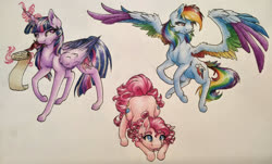 Size: 1439x869 | Tagged: safe, artist:cloud-dash, artist:vera-li, part of a set, pinkie pie, rainbow dash, twilight sparkle, alicorn, earth pony, pegasus, pony, alternate cutie mark, colored wings, cute, cutie mark, diapinkes, female, flying, glowing horn, head down, horn, magic, mare, multicolored wings, rainbow wings, raised hoof, scroll, simple background, smiling, spread wings, tail feathers, telekinesis, tongue out, traditional art, trio, twilight sparkle (alicorn), white background, wings