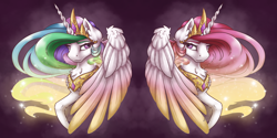 Size: 4000x2000 | Tagged: safe, artist:cloud-dash, artist:vera-li, princess celestia, alicorn, pony, abstract background, beautiful, chest fluff, colored wings, duality, ear fluff, ethereal mane, female, jewelry, looking at each other, looking sideways, mare, pink-mane celestia, regalia, solo, starry mane, wings