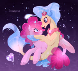 Size: 2517x2301 | Tagged: safe, artist:nsfwzhenya, pinkie pie, princess skystar, earth pony, pony, seapony (g4), my little pony: the movie, blushing, eye contact, female, heart, lesbian, looking at each other, mare, one small thing, open mouth, seaponified, seapony pinkie pie, shipping, skypie, species swap, underwater, wavy mouth