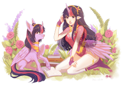 Size: 1600x1115 | Tagged: dead source, safe, artist:yan-sh, twilight sparkle, alicorn, human, pony, book, curved horn, elf ears, female, horn, horned humanization, human ponidox, humanized, mare, self ponidox, simple background, twilight sparkle (alicorn), unshorn fetlocks