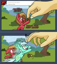 Size: 1280x1442 | Tagged: safe, artist:clouddg, lyra heartstrings, oc, oc:pun, pony, ask pun, ask, cider mug, hand, humie, mug, that pony sure does love hands