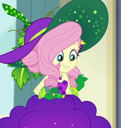 Size: 1022x1080 | Tagged: safe, edit, screencap, fluttershy, equestria girls, equestria girls series, holidays unwrapped, spoiler:eqg series (season 2), bare shoulders, clothes, cornucopia costumes, cropped, female, gloves, good, hat, skirt, sleeveless, smiling, solo, strapless, very good