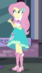 Size: 474x813   Tagged: safe, screencap, fluttershy, equestria girls, equestria girls series, street chic, spoiler:eqg series (season 2), clothes, cropped, cute, long socks, scarf, shyabetes, solo, tights