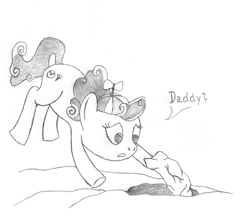 Size: 500x433   Tagged: safe, artist:quint-t-w, screwball, earth pony, pony, dialogue, flying, hat, old art, pencil drawing, propeller hat, rock, searching, simple background, solo, swirly eyes, traditional art, white background