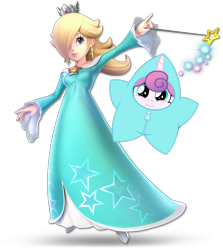 Size: 1361x1528 | Tagged: safe, princess flurry heart, alicorn, human, pony, best gift ever, baby, baby pony, clothes, costume, cute, female, flurrybetes, rosalina, simple background, smiling, star flurry heart, super smash bros., transparent background