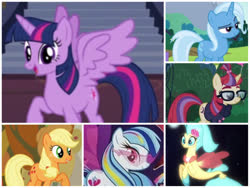 Size: 1024x768 | Tagged: safe, artist:leebo4, applejack, moondancer, princess skystar, sonata dusk, trixie, twilight sparkle, alicorn, my little pony: the movie, spoiler:my little pony movie, female, harem, lesbian, shipping, twidancer, twijack, twilight sparkle (alicorn), twilight sparkle gets all the mares, twinata, twistar, twixie