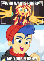 Size: 600x835 | Tagged: safe, flash sentry, sunset shimmer, equestria girls, equestria girls series, holidays unwrapped, how to backstage, spoiler:eqg series (season 2), female, flashimmer, male, meme, shipping, shipping domino, straight