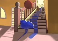 Size: 4096x2897   Tagged: safe, artist:toisanemoif, princess luna, alicorn, ball, cone, slinky, solo, stairs, sun, surreal