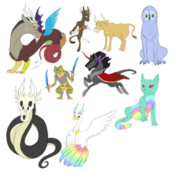 Size: 3300x3300 | Tagged: safe, artist:phobicalbino, discord, king sombra, oc, oc:ceres, oc:disciphilo, oc:ganymede, oc:krono, oc:pura, oc:stultus, anthro, bird, cat, cow, draconequus, frog, serpent, armor, glasses, god, non-pony oc, playing card, purple eyes, rainbow feathers, simple background, skull head, sword, three eyes, weapon, white background