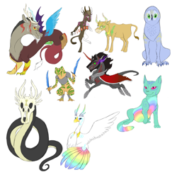 Size: 3300x3300 | Tagged: safe, alternate version, artist:phobicalbino, discord, king sombra, oc, oc:ceres, oc:disciphilo, oc:ganymede, oc:krono, oc:pura, oc:stultus, anthro, bird, cat, cow, draconequus, frog, serpent, armor, glasses, god, non-pony oc, playing card, purple eyes, rainbow feathers, simple background, skull head, swirly markings, sword, three eyes, weapon, white background