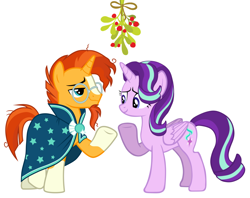 Size: 1604x1272 | Tagged: safe, artist:dashievectors9000, artist:uigsyvigvusy, starlight glimmer, sunburst, alicorn, pony, unicorn, alicornified, christmas, female, holiday, male, mistleholly, mistletoe meme, race swap, shipping, starburst, starlicorn, straight, xk-class end-of-the-world scenario