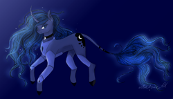 Size: 1600x915 | Tagged: safe, artist:nyota71, artist:wikatoria71, princess luna, pony, unicorn, armor, armored legs, choker, colored hooves, female, glowing mane, jewelry, leonine tail, mare, race swap, redesign, smiling, solo, tail jewelry, unicorn luna