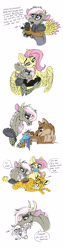 Size: 800x3172 | Tagged: safe, artist:celestial-rainstorm, angel bunny, fluttershy, oc, oc:athena, big cat, bird, draconequus, hybrid, leopard, wolf, comic, facemask, interspecies offspring, offspring, parent:discord, parent:fluttershy, parents:discoshy, scruff, simple background, white background