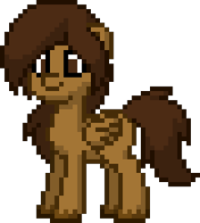 Size: 880x980 | Tagged: safe, oc, oc only, oc:cocoa bittersweet, pegasus, pony, pony town, long hair, male, pixel art, simple background, solo, stallion, transparent background, wings