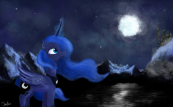 Size: 5700x3508 | Tagged: safe, artist:akuneanekokuro, princess luna, alicorn, pony, canterlot, cloud, digital art, female, full moon, lake, mare, moon, mountain, night, night sky, sky, snow, solo, stars, tree