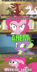 Size: 638x1230 | Tagged: safe, edit, edited screencap, editor:undeadponysoldier, screencap, baff, fizzle, garble, pinkie pie, spike, dragon, earth pony, pony, series:spikebob scalepants, dragon quest, ahem, awkward, comic, female, frankendoodle, heh, insulting garble, male, mare, nervous, patrick star, reference, screencap comic, silly, spongebob squarepants, sweat