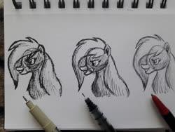 Size: 1280x960 | Tagged: safe, artist:rockhoppr3, applejack, earth pony, pony, spoiler:g5, applejack (g5), g5, monochrome, multiple variants, pen drawing, traditional art
