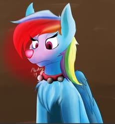 Size: 831x901 | Tagged: safe, artist:fireryd3r, rainbow dash, deer, pegadeer, reindeer, bashful, bell, bell collar, bells, chest fluff, christmas, collar, deerified, female, glow, glowing nose, holiday, nose, red nose, red nosed reindeer, reindeer dash, rudolph dash, rudolph the red nosed reindeer, solo, species swap