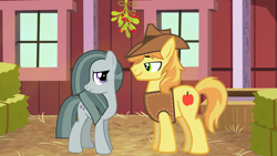 Size: 2063x1160 | Tagged: safe, braeburn, marble pie, a happy ending for marble pie, barn, braeble, christmas, female, hay bale, hearth's warming, heartwarming, holiday, looking at each other, male, mistleholly, romance, romantic, shipping, smiling, straight, this will end in kisses
