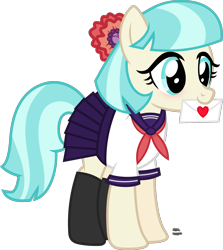 Size: 1504x1684 | Tagged: safe, artist:anime-equestria, coco pommel, earth pony, pony, blushing, clothes, cocobetes, crossover, cute, envelope, female, happy, heart, letter, long socks, love, love letter, mare, miniskirt, mouth hold, necktie, parody, pleated skirt, sailor uniform, school uniform, schoolgirl, simple background, skirt, socks, solo, transparent background, uniform, vector, yandere, yandere simulator