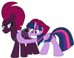 Size: 5048x3972 | Tagged: safe, alternate version, artist:ejlightning007arts, fizzlepop berrytwist, tempest shadow, twilight sparkle, alicorn, shadow play, broken horn, butt touch, butthug, clothes, cute, equestria girls outfit, eye scar, faceful of ass, female, horn, hug, lesbian, pinkie hugging applejack's butt, scar, shipping, simple background, smiling, swimsuit, tempass, tempestlight, transparent background, twilight sparkle (alicorn), vector